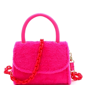 PPC6765 Faux-Fur Top-Handle Small Flap Satchel with Plastic Chain Strap Neon-Pink