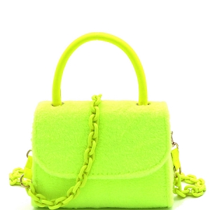 PPC6765 Faux-Fur Top-Handle Small Flap Satchel with Plastic Chain Strap Neon-Yellow
