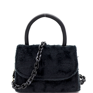 PPC6765 Faux-Fur Top-Handle Small Flap Satchel with Plastic Chain Strap Black