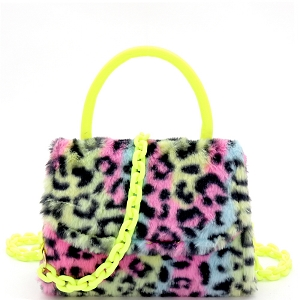 PPC6765 Faux-Fur Top-Handle Small Flap Satchel with Plastic Chain Strap Leopard Multi-1/Neon-Yellow