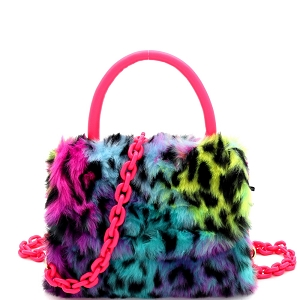 PPC6765 Faux-Fur Top-Handle Small Flap Satchel with Plastic Chain Strap Leopard Multi-2/Neon-Pink