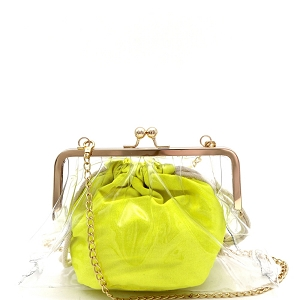 PPC6790 Neon Color Inner Bag 2 in 1 Kiss-lock Frame Clear Clutch Crossbody Neon-Yellow