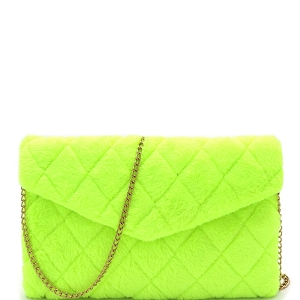PPC6832 Quilted Faux Fur Envelope Clutch Shoulder Bag Neon-Yellow