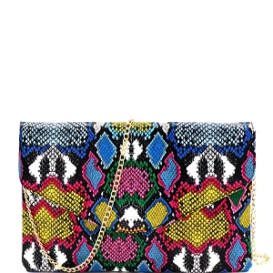 PPC6845 Multi-Colored Snake Print Envelope Clutch Multi