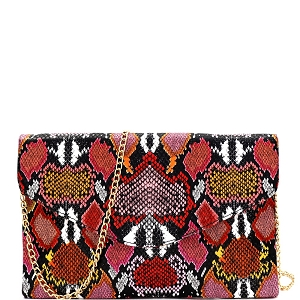PPC6845 Multi-Colored Snake Print Envelope Clutch Red