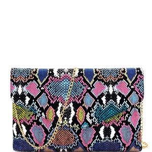PPC6845 Multi-Colored Snake Print Envelope Clutch Blue