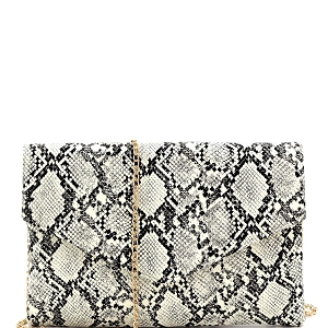 PPC6862 Glow in the Dark Luminescent Snake Print Envelope Clutch Black