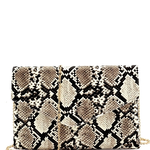 PPC6862 Glow in the Dark Luminescent Snake Print Envelope Clutch Beige