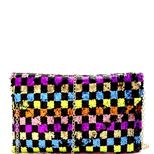 PPC6895 Multi-colored Checker Pattern Sequin Envelope Clutch Multi-1