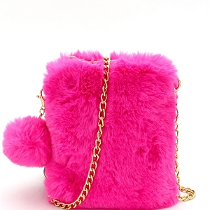 (PPC6932) PPC7040 Pom Pom Accent Faux Fur Chain Cellphone Crossbody Neon-Pink