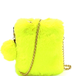 (PPC6932) PPC7040 Pom Pom Accent Faux Fur Chain Cellphone Crossbody Neon-Yellow