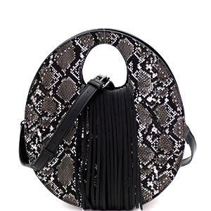 PPC6945 Snake Print Fringed Cut-Out Handle 2-Way Medium Satchel Black