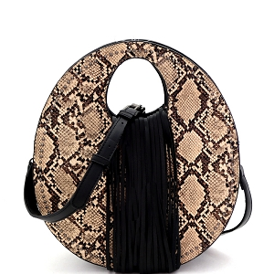 PPC6945 Snake Print Fringed Cut-Out Handle 2-Way Medium Satchel Beige