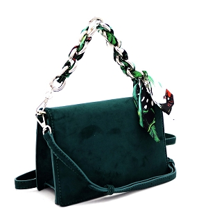 PPC6947 Scarf Chain Accent Felt-Suede Medium 2-Way Flap Satchel Green