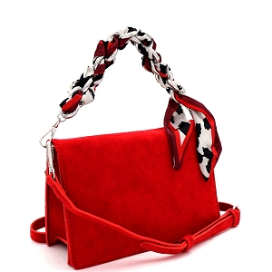 PPC6947 Scarf Chain Accent Felt-Suede Medium 2-Way Flap Satchel Red