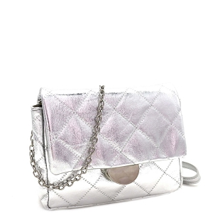 PPC6948 Quilted Metallic Chain Cross Body Shoulder Bag Silver