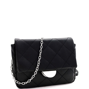 PPC6948 Quilted Metallic Chain Cross Body Shoulder Bag Black