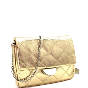 PPC6948 Quilted Metallic Chain Cross Body Shoulder Bag Gold