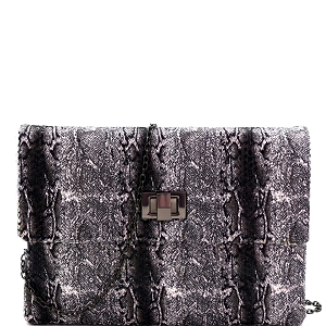 PPC6965 Sequin Snake Print Oversized Turn-Lock Flap Clutch Black