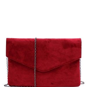 PPC6973 Classy Felt-Suede Envelope Clutch with Chain Strap Burgundy