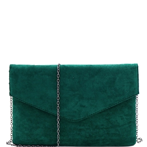 PPC6973 Classy Felt-Suede Envelope Clutch with Chain Strap Green
