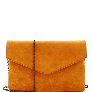 PPC6973 Classy Felt-Suede Envelope Clutch with Chain Strap Mustard
