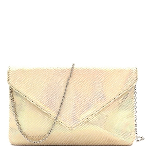 PPC6974 Iridescent Reflective Gridded Snake Print Envelope Clutch Gold