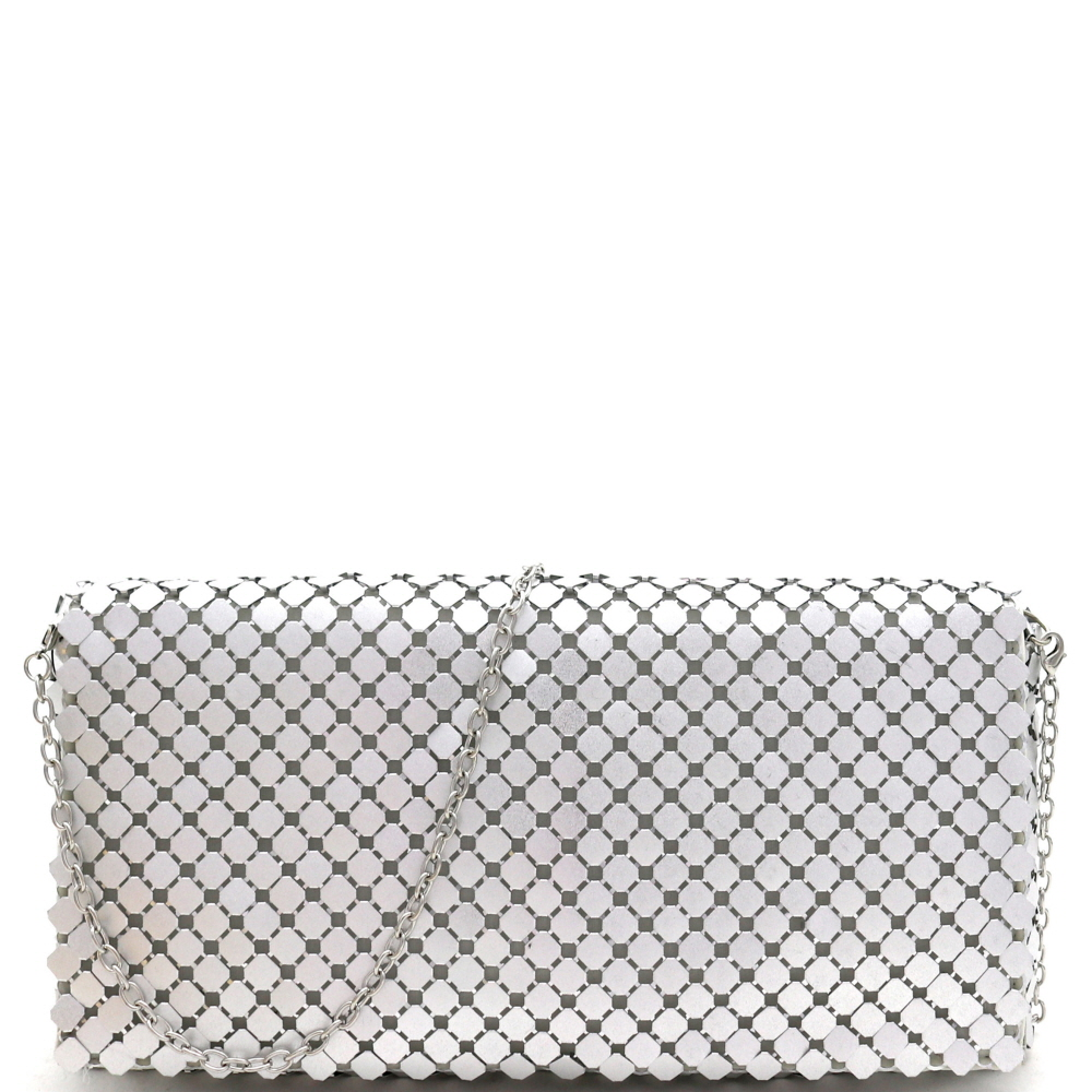 PPC7026 Metallic All-Over Mesh Flap Clutch Shoulder Bag Silver