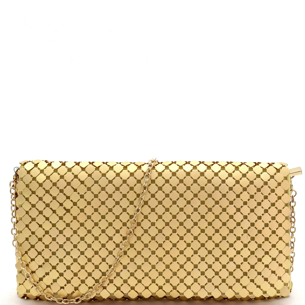 PPC7026 Metallic All-Over Mesh Flap Clutch Shoulder Bag Gold