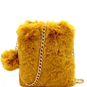 PPC7040 Pom Pom Accent Faux Fur Chain Cellphone Crossbody Mustard