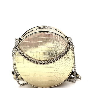 PPC7042 Crocodile Print Chain Accent Round 2-Way Medium Satchel Gold