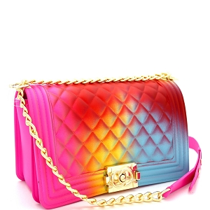 PPC7053 Multicolored Embossed Jelly 2-Way Pinch-Lock Medium Shoulder Bag Multi-1 (Fuchsia/Red/Yellow/Blue]