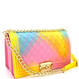 PPC7053 Multicolored Embossed Jelly 2-Way Pinch-Lock Medium Shoulder Bag Multi-2 (Pink/Blue/Yellow]