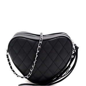 PPC7173 Quilted Heart-Shape Chain Cross Body Shoulder Bag Black