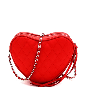 PPC7173 Quilted Heart-Shape Chain Cross Body Shoulder Bag Red