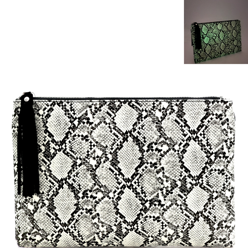 PPC7158 Glow in the Dark Luminescent Snake Print Large Hand Clutch Black
