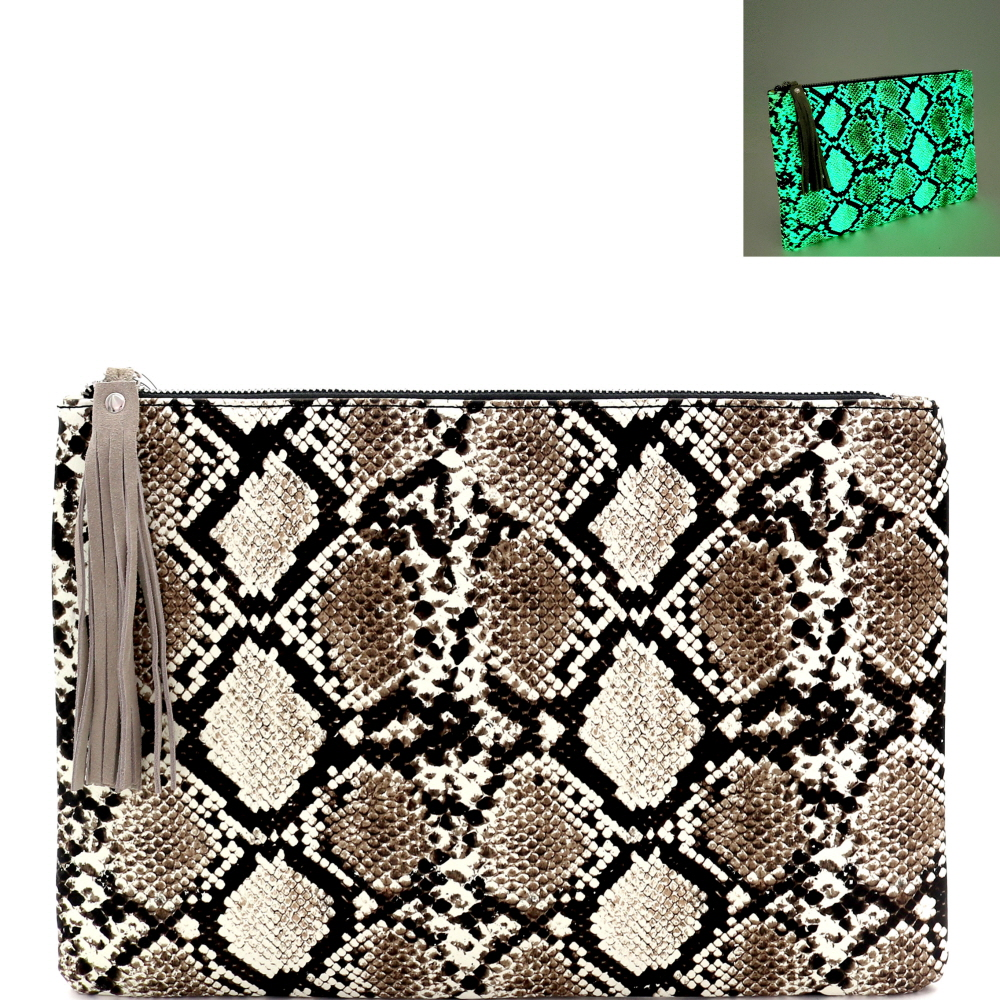 PPC7158 Glow in the Dark Luminescent Snake Print Large Hand Clutch Beige