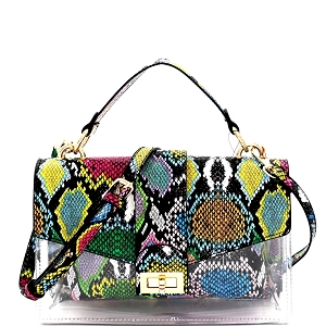 PPC7177 Multicolor Snake Print Turn-lock Accent 2 Way Medium Satchel Multi