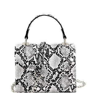 PPC7178 Snake Print Small Top-Handle Retro Box Flap Satchel Cross Body Black