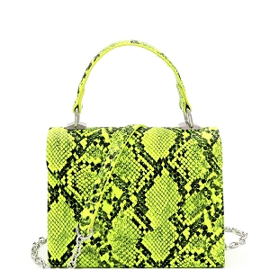 PPC7178 Snake Print Small Top-Handle Retro Box Flap Satchel Cross Body Neon-Yellow
