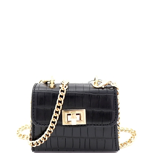PPC7186 Micro Mini Turn-lock Crocodile Print Satchel Cross Body Black