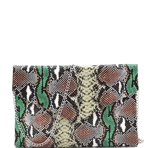 PPC7242 Multi-Colored Snake Print Envelope Clutch Green