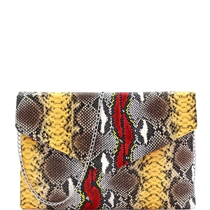PPC7242 Multi-Colored Snake Print Envelope Clutch Red