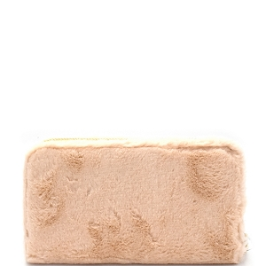 PPW2151 Faux Fur Zip-Around Wallet Nude