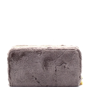 PPW2151 Faux Fur Zip-Around Wallet Gray
