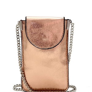 PPW2201 Metallic Slim Cellphone Holder Cross Body Rose-Gold