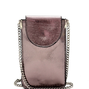 PPW2201 Metallic Slim Cellphone Holder Cross Body Hematite