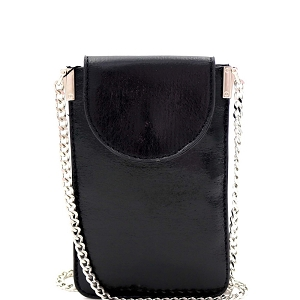 PPW2201 Metallic Slim Cellphone Holder Cross Body Black