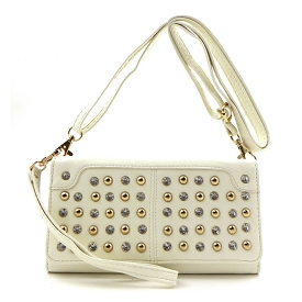 W745P93 Rhinestone and Stud Chackbook Wristlet Wallet with Shoulder Strap Ivory