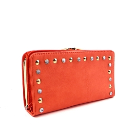 W748P88 Rhinestone Stud Clutch Compartment Wristlet Wallet with Shoulder Strap Peach